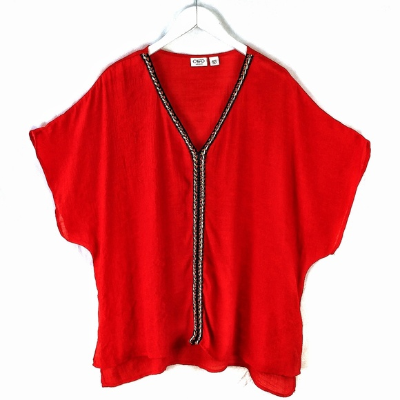 Cato Tops - Cato woman red dolman sleeve pullover top sz 18/20